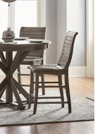 Wood Counter Chair (2/Carton) - Distressed Dark Gray Finish Product Image