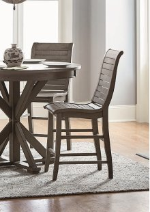 Wood Counter Chair (2/Carton) - Distressed Dark Gray Finish