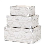 Beth Kushnick Gray Snakeskin Boxes - Set of 3 Product Image