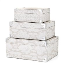 Beth Kushnick Gray Snakeskin Boxes - Set of 3