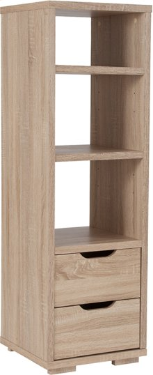"""Howell Collection 3 Shelf 49.5""""H Bookshelf with Storage Drawers in Sonoma Oak Wood Grain Finish"""