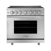 "36"" Gas Pro Range, Silver Stainless Steel, Liquid Propane"