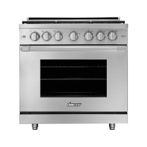 "Dacor36"" Gas Pro Range, Silver Stainless Steel, Liquid Propane"