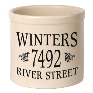 Personalized Pinecone 2 Gallon Stoneware Crock - Black Engraving / Bristol Crock Product Image