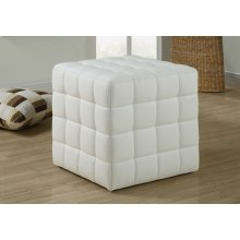 OTTOMAN - WHITE LEATHER-LOOK FABRIC