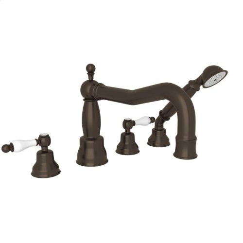 Tuscan Brass Arcana Column Spout 4-Hole Deck Mount Tub Filler With Handshower with Arcana Series Only Ornate White Porcelain Lever