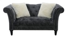 Loveseat With 2 Accent Fur Pillows-bliss Charcoal