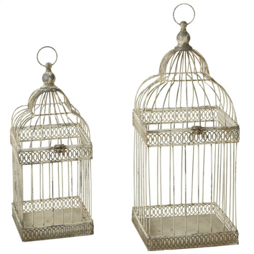 Distressed Ivory Curved Top Square Bird Cages (2 pc. set)