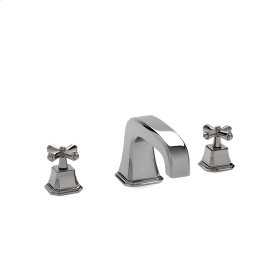 High Polished Platinum Harrison Cross Handle Deck Mount Tub Set Small