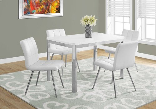 "DINING TABLE - 32""X 48"" / WHITE / CHROME METAL"