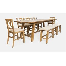 Telluride Trestle Table With Bench and 4 Stools