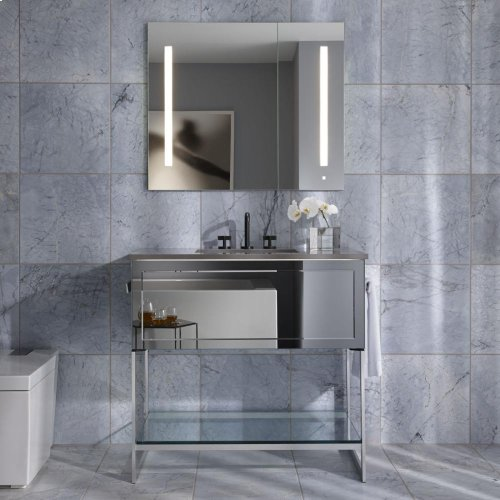 """Adorn 36-1/4"""" X 34-3/4"""" X 21"""" Vanity In Indian Rosewood With Push-to-open Plumbing Drawer, Towel Bar On Left and Right Side, Legs In Brushed Aluminum and 37"""" Stone Vanity Top In Quartz White With Integrated Center Mount Sink and 8"""" Widespread Faucet Holes"""