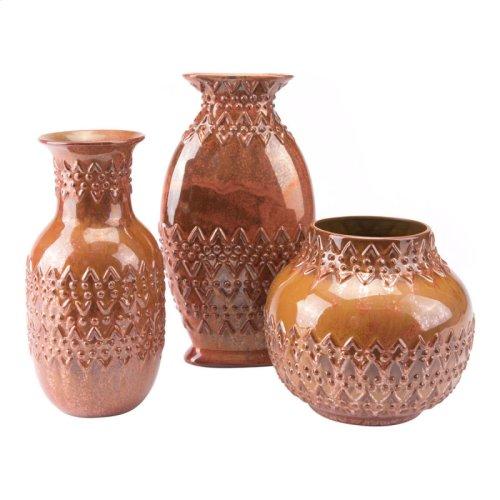 Toltec Sm Vase Red