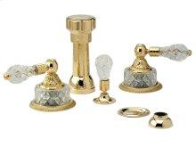 Four Hole Bidet Set Cut Crystal - Polished Brass