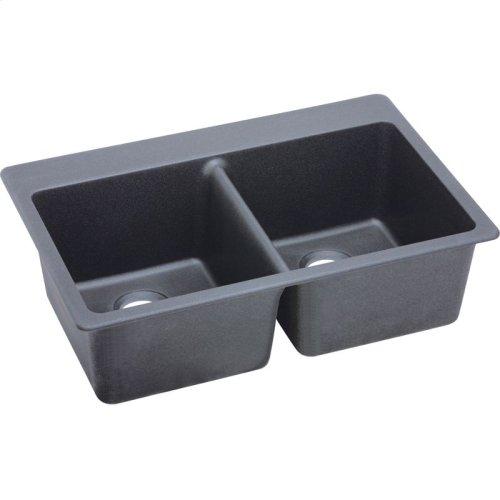 "Elkay Quartz Classic 33"" x 22"" x 9-1/2"", Equal Double Bowl Drop-in Sink, Dusk Gray"