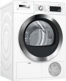 "800 Series 24"" Compact Condensation Dryer, with Home Connect, WTG865H2UC, White/Chrome Product Image"