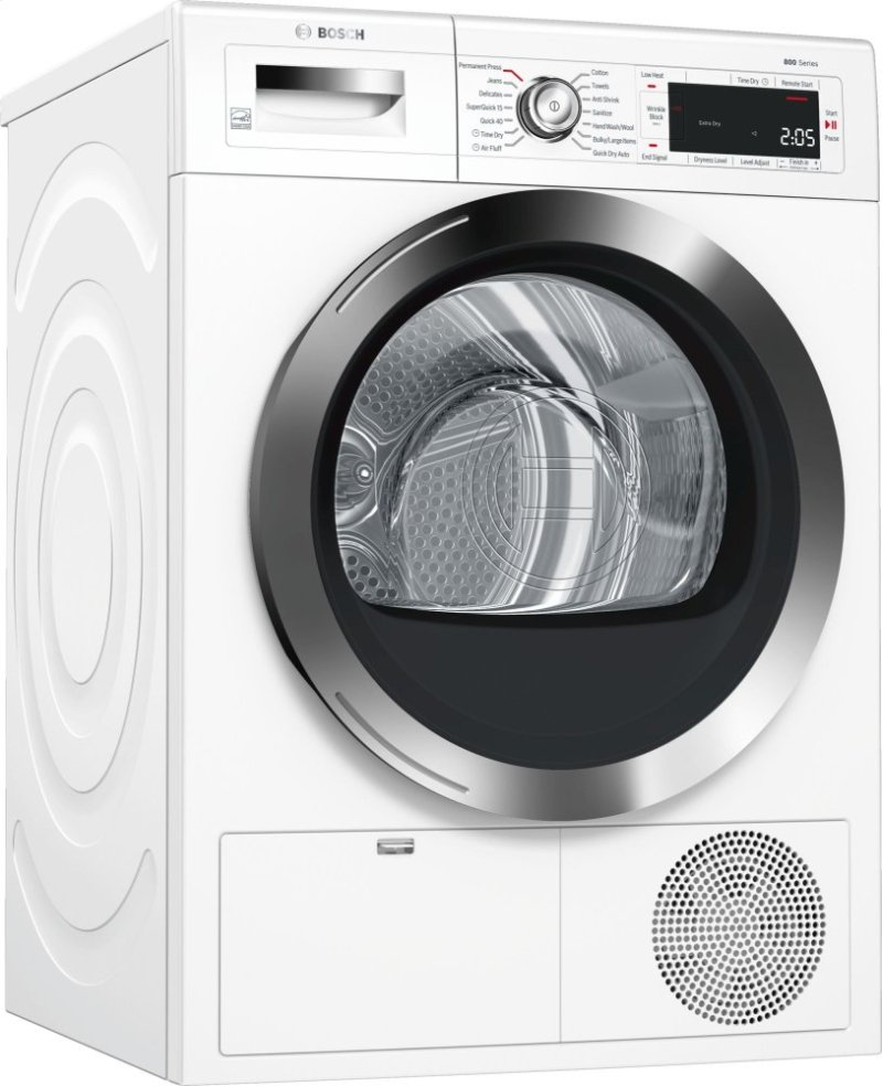 "800 Series 24"" Compact Condensation Dryer, with Home Connect, WTG865H2UC,  White/"