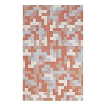 Andela Interlocking Block Mosaic 8x10 Area Rug in Multicolored Coral and Light Blue