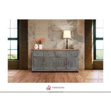 4 Drawer, 4 doors console - Blue finish