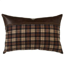 Rustic Plaid & Faux Leather Lumbar Pillow.