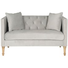 Sarah Tufted Settee With Pillows - Grey / Washed Oak