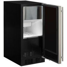"15"" Marvel Clear Ice Machine with Arctic Illuminice Lighting - Gravity Drain - Black Door with Left Hinge"