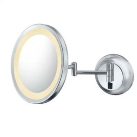 Brushed Nickel Single-Sided LED Round Wall Mirror