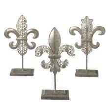 Antique Silver Fleur de Lis on Stand (3 asstd)