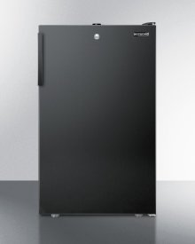 """Commercially Listed ADA Compliant 20"""" Wide Freestanding Refrigerator-freezer With A Lock and Black Exterior"""