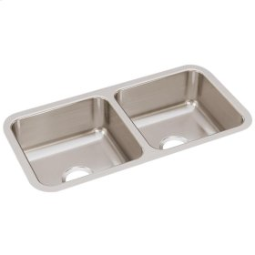 """Elkay Lustertone Classic Stainless Steel 31-3/4"""" x 16-1/2"""" x 7-1/2"""", Equal Double Bowl Undermount Sink"""
