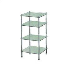 Essentials Freestanding Four Tier Glass Shelf Unit, Square