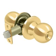 Round Knob Entry - PVD Polished Brass
