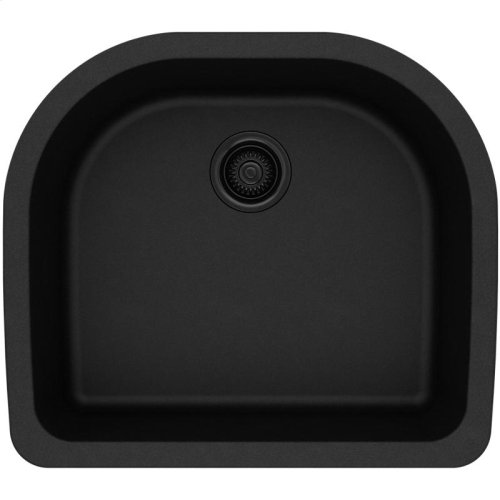 "Elkay Quartz Classic 25"" x 22"" x 8-1/2"", Single Bowl Undermount Sink, Black"