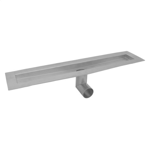 "Brushed Stainless - 24"" zeroEDGE Side Outlet Channel Drain Body"