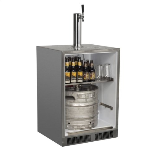 "Outdoor 24"" Single Tap Built In Beer Dispenser with Stainless Steel Door - Solid Stainless Steel Door With Lock - Right Hinge"
