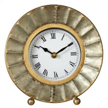 Galvanized Fluted Desk Clock.
