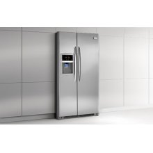Frigidaire Gallery 26 Cu. Ft. Side-by-Side Refrigerator (This is a Stock Photo, actual unit (s) appearance may contain cosmetic blemishes. Please call store if you would like actual pictures). This unit carries our 6 month warranty, MANUFACTURER WARRANTY and REBATE NOT VALID with this item. ISI 32831