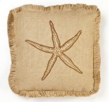 Brown Starfish Burlap Pillow