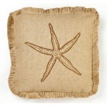 Brown Starfish Burlap Pillow