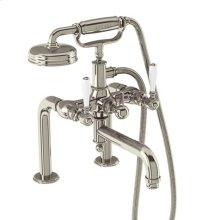 Arcade Exposed Deck-mount Tub Faucet with Handshower and White Lever Handles - Polished Chrome