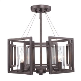 Marco Semi-Flush (Convertible) in Gunmetal Bronze with Clear Glass
