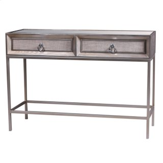 Mancini Mirrored Console Table 2 Drawers, Cream/Silver