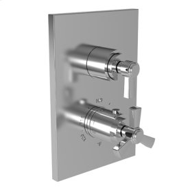 """French Gold - PVD 1/2"""" Square Thermostatic Trim Plate with Handle"""