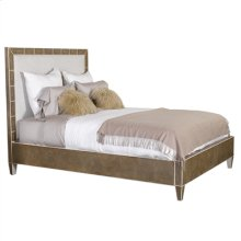 Embossed Leather Shagreen Inlay King Size Bed with Beige Linen Upholstery