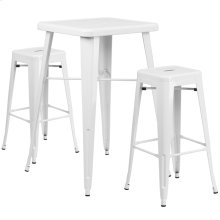 23.75'' Square White Metal Indoor-Outdoor Bar Table Set with 2 Square Seat Backless Stools