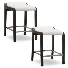 Buffed Pecan Wood Fastback Counter Height Stool with Ivory Faux Leather Seat #10116BP/IV - Set of 2