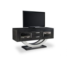 "Contempo Metal Curve Pedestal 64"" HDTV Cabinet with 2 Drawers and Glass Doors"
