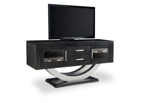 """Contempo Metal Curve Pedestal 64"""" HDTV Cabinet with 2 Drawers and Glass Doors"""