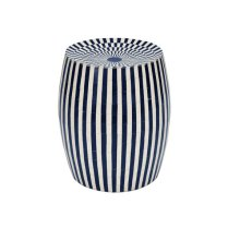 Cylinder Stool In Navy and White Resin