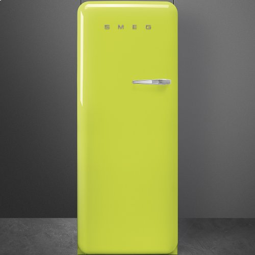 """Approx 24"""" 50'S Style Refrigerator with ice compartment, Lime green, Left hand hinge"""